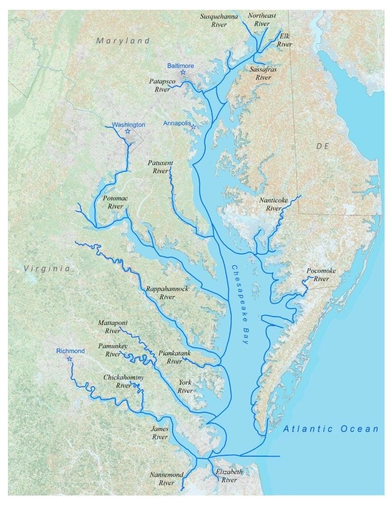 This chart details the entirety (roughly 2,500 miles) of the John Smith Trail, more appropriately considered a 'water system' by The National Park Service. It connects multiple wildlife refuges, national parks, as well as three other national trails.Image courtesy: chesapeakeconservancy.org