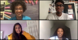 Students participating in a virtual session