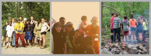 A collage of student groups on expedition