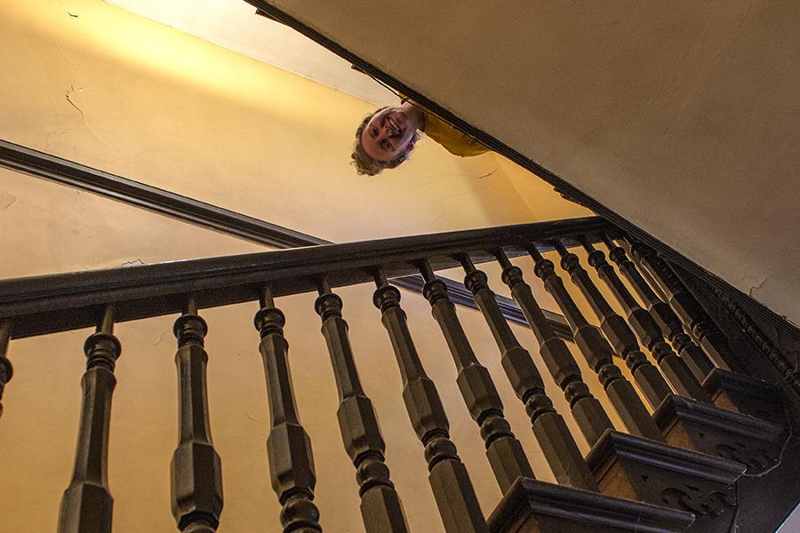 Nicola Peaking down stairs